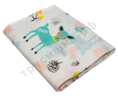Муслиновая пеленка Голубой олень (хлопок)