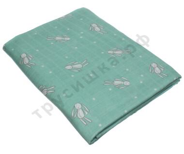 Муслиновая пеленка Зайчик на серо-зеленом (бамбук-хлопок)