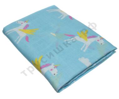 Муслиновая пеленка Единорог на голубом (бамбук-хлопок)
