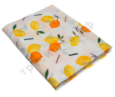 Муслиновая пеленка Желтый и оранжевый лимоны (бамбук-хлопок)