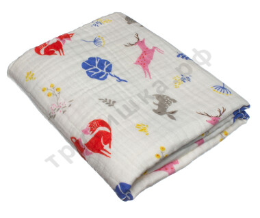 Муслиновое одеяло Цветные звери, хлопок, 6 слоев