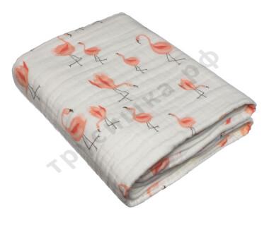 Муслиновое одеяло Оранжевый фламинго, хлопок, 8 слоев