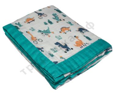 Муслиновое одеяло Динозаврики, бамбук-хлопок, 4 слоя