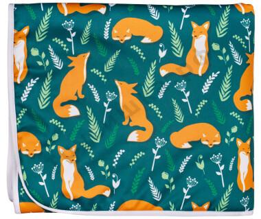 Впитывающая пеленка Лисички на зеленом (бамбук-уголь) 70*120