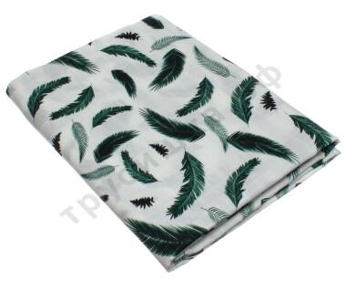 Муслиновая пеленка Зеленые перышки (бамбук-хлопок)