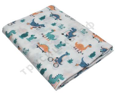 Муслиновая пеленка Цветные динозаврики (бамбук-хлопок)