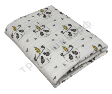 Муслиновое одеяло Панда-индеец, хлопок, 6 слоев