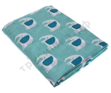 Муслиновая пеленка Слоны на голубом (хлопок)