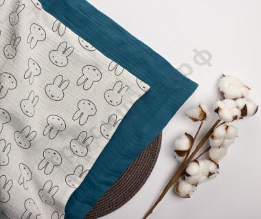 Муслиновый плед Зайцы на белом/Морская волна, 100 x 120 см, 4 слоя