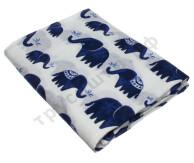 Муслиновая пеленка Синие слоны (хлопок)