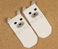 Носочки объемные Белый медведь / серый