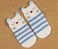 Носочки объемные Кот и голубые полосы