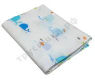 Муслиновая пеленка Голубой и синий киты (хлопок)