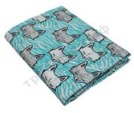 Муслиновая пеленка Волки на голубом (хлопок)