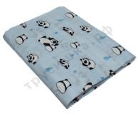 Муслиновая пеленка Панды на голубом (бамбук-хлопок)