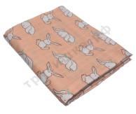 Муслиновая пеленка Зайчонок на персиковом (бамбук-хлопок)