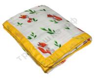 Муслиновое одеяло Лисенок на белом, бамбук-хлопок, 4 слоя