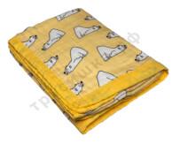 Муслиновое одеяло Белый мишка на желтом, бамбук-хлопок, 6 слоев