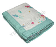 Муслиновое одеяло Русалочка, бамбук-хлопок, 6 слоев